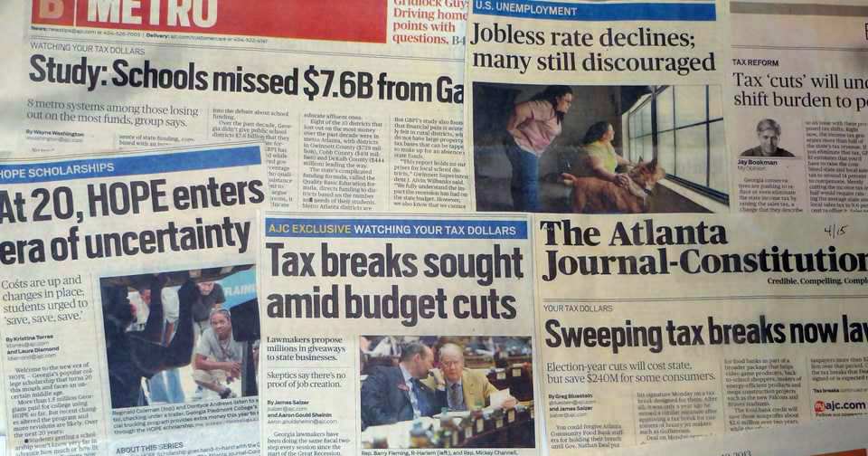 GBPI analysts have served as state policy experts for a variety of media outlets across Georgia. This image shows a sampling of newspaper coverage of GBPI's research and analysis.