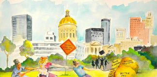 Women Working Ahead: An Economic Opportunity Agenda for Georgia Women. GBPI's 2016 Fall Forum promotional image. Art by Shanequa Gay.