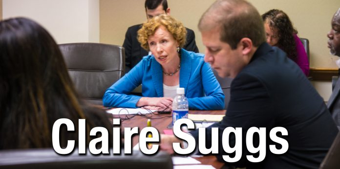 Claire Suggs delivers remarks to a state legislative hearing