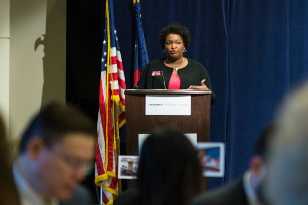 Georgia House Minority Leader Stacey Abrams delivers remarks to crowd