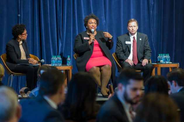 Georgia House Minority Leader Stacey Abrams speaks during panel