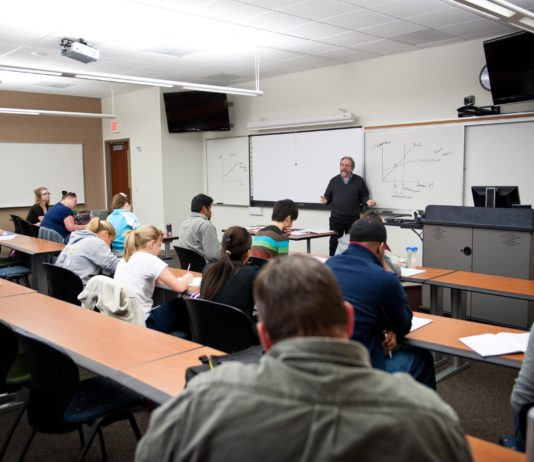 University classroom and students